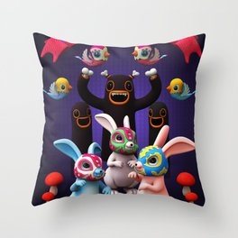 Lucha Rabbit Throw Pillow