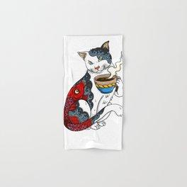 Cat Drinking Coffee With Fish Tattoo - Cat & Coffee Lovers gift idea Hand & Bath Towel