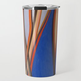 Retro Blues Browns Oranges Line Design with Pastels by annmariescreations Travel Mug