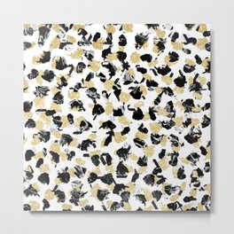 Black white marble faux gold glitter brushstrokes pattern Metal Print