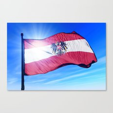 Austria flag waving on the wind Canvas Print