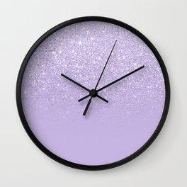 Stylish purple lavender glitter ombre color block Wall Clock