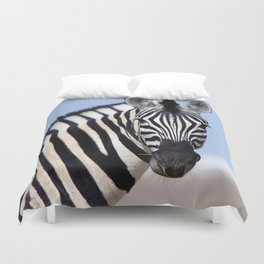 Zebra looking at you Duvet Cover