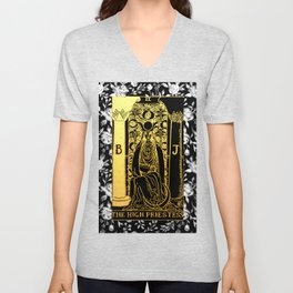 Floral Tarot Print - The High Priestess Unisex V-Neck