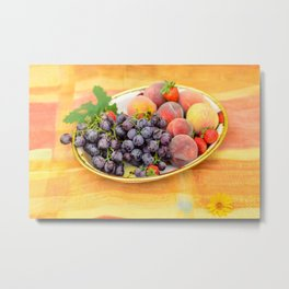 Plate with summer fruits Metal Print