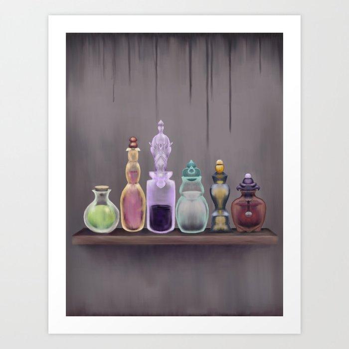 Potion Master - Magic Potions on a Shelf Art Print