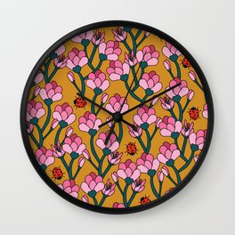 Flower Buds and Lady Beetles Wall Clock