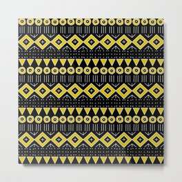 Mudcloth Style 2 in Black and Yellow Metal Print