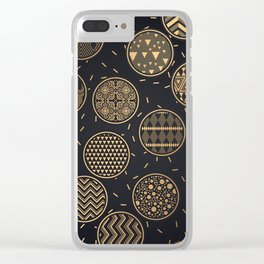 Golden stylish abstract retro pattern Clear iPhone Case