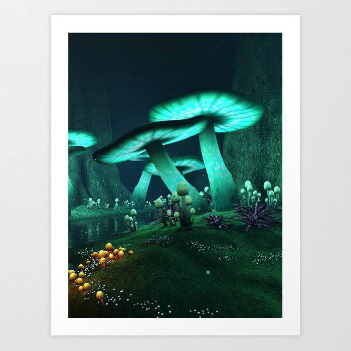 Luminous Mushrooms Kunstdrucke