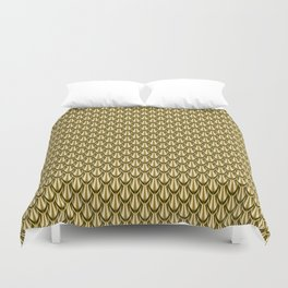 Gleaming Gold Leaf Scalloped Scale Pattern Duvet Cover