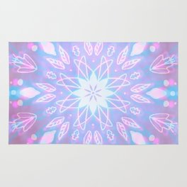 Purple, Teal, White Aura Mandala Rug