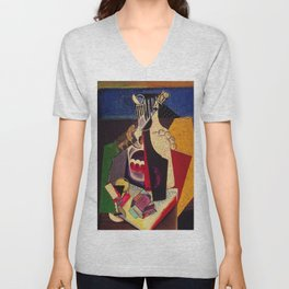 The articles of life still life portrait by María Blanchard for kitchen and dinning room decor Unisex V-Neck