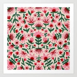 Pink and Red Folksy Floral Print Art Print