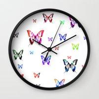 butterflies Wall Clocks featuring Butterflies. by haroulita