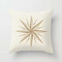 Starburst Retro 3 - Gold  Throw Pillow