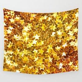 Glittering Golden Stars Wall Tapestry