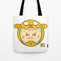 finn and jake Tote Bags featuring Jake & Finn  by Miguel Manrique