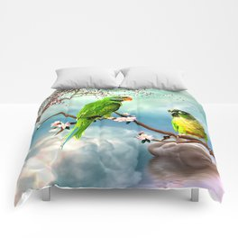 Wonderful, cute parrots Comforters