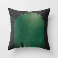 fireflies Throw Pillows featuring Fireflies by laurxy