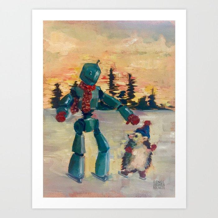 Robot iceskating with hedgehog Art Print