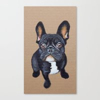 french bulldog Canvas Prints featuring French Bulldog by PaperTigress