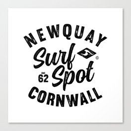 NEWQUAY SURFSPOT CORNWALL VINTAGE LETTERING SURFDESIGN, BY SUBGRL Canvas Print