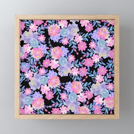 Teal lavender pink black watercolor flowers Framed Mini Art Print