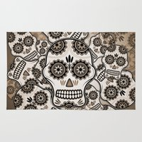 sugar skulls Area & Throw Rugs featuring Sugar skulls by nicky2342