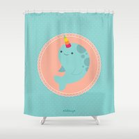 narwhal Shower Curtains featuring Narwhal by Luli Bunny
