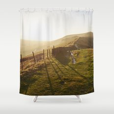 Rushup Edge at sunset. Derbyshire, UK. Shower Curtain