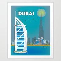 Dubai, United Arab Emirates - Skyline Illustration by  Loose Petals LLC Art Print