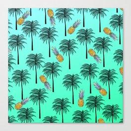 Tropical Teal Yellow Orange Pineapple Black Palm Tree Pattern Canvas Print