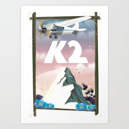 K2 Mountain travel poster. Art Print