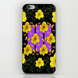 BLACK ART  YELLOW AMARYLLIS FLOWERS BUTTERFLY FLORAL iPhone Skin