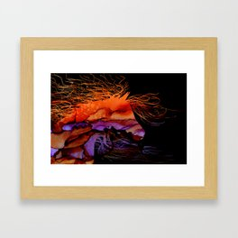 Abstract Wild Horse Orange and Purple Framed Art Print