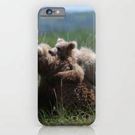 Alaska Grizzly Mother And A Cub In Katmai National Park iPhone Case