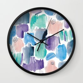 Marking making abstract pattern- blue purple peach and mint Wall Clock