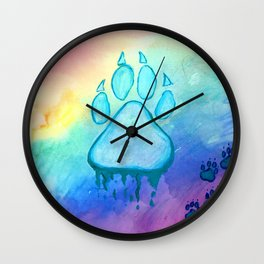 Painted Paw Prints on the Heart Wall Clock