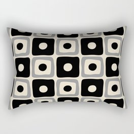 Mid Century Modern Square Dot Pattern 771 Black and Gray Rectangular Pillow