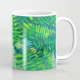 Fern, floral art, forest plants, green & blue Coffee Mug