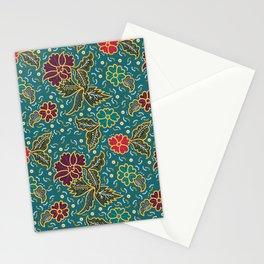 teal batik pattern Stationery Cards