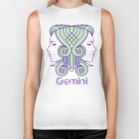 deco Biker Tanks featuring Deco Gemini by Jorge Garza