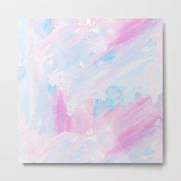 Modern pastel pink teal hand painted watercolor pattern Metal Print