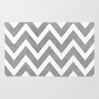 gray Area & Throw Rugs featuring gray chevron by her art