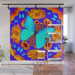 Turquoise Butterflies Golden Sunflowers Blue Abstract Wall Mural