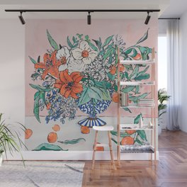 California Summer Bouquet - Oranges and Lily Blossoms in Blue and White Urn Wall Mural