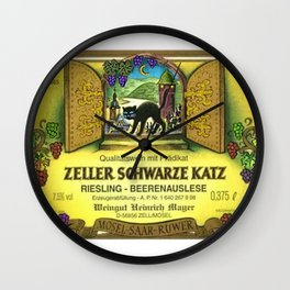 Vintage Zeller Cats Schwarze Riesling - Mosel Saar Ruwer Wine Bottle Label Print Wall Clock