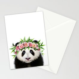 Baby Panda With Flower Crown, Baby Animals Art Print By Synplus Stationery Cards