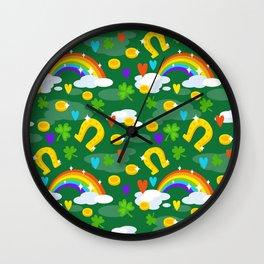 st patricks day, Irish gift, shamrock, ireland, irish gifts women, luck of the irish, rainbow Wall Clock